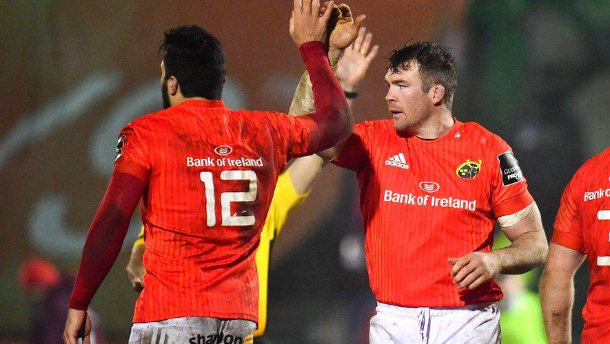 Le Munster de Peter O'Mahony (de face) et Damian de Allende veulent marquer les esprits face au Leinster. Pour l'heure, les deux équipes n'ont connu qu'une seule défaite cette saison. Photo Icon Sport