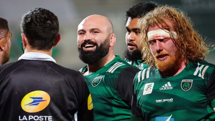 Mike TADJER of Montauban and Nicolas AGNESI of Montauban during the Pro D2 match between Montauban and Perpignan at Sapiac stadium on January 30, 2021 in Montauban, France. (Photo by Pierre Costabadie/Icon Sport) - Mike TADJER - Nicolas AGNESI