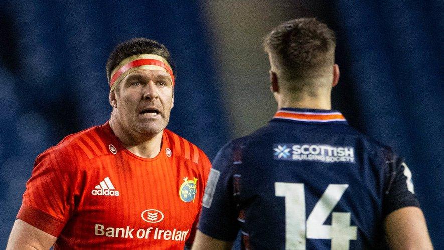 Billy Holland, ici contre Édimbourg, arrêtera à la fin de la saisons après quatorze saisons à porter les couleurs du Munster. Photo Icon Sport