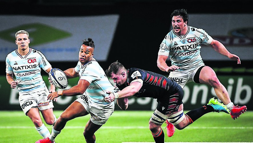 Teddy THOMAS of Racing 92 and Camille CHAT of Racing 92 during the Round of 16 Champions Cup match between Racing 92 and Edinburgh Rugby at Paris La Defense Arena on April 4, 2021 in Nanterre, France. (Photo by Matthieu Mirville/Icon Sport) - Paris La Defense Arena - Paris (France)