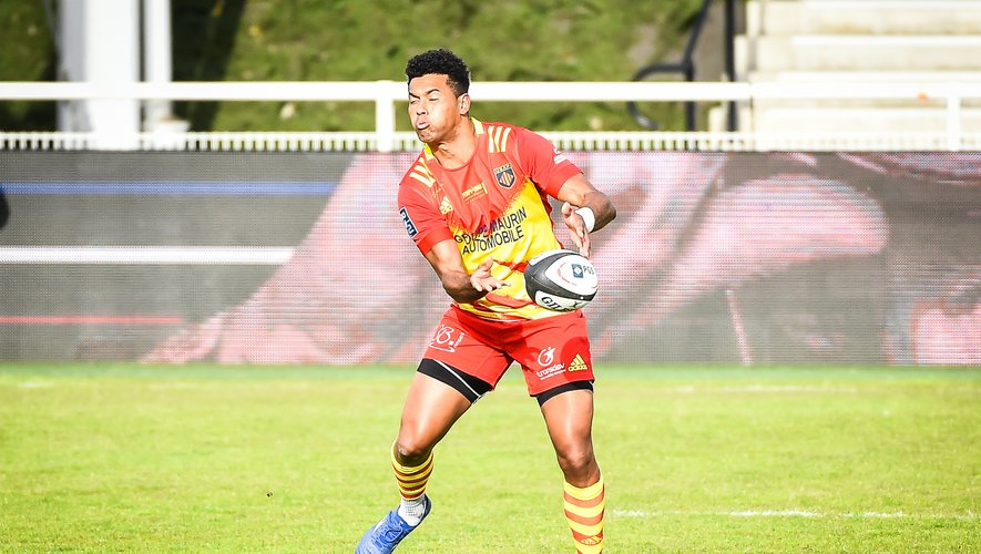 Ben VOLAVOLA of Perpignan during the Pro D2 match between Rouen and Perpignan at Stade Mermoz on May 7, 2021 in Rouen, France. (Photo by Matthieu Mirville/Icon Sport) - Ben VOLAVOLA - Stade Jean Mermoz - Rouen (France)