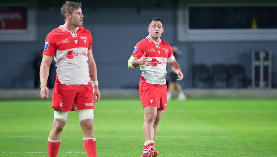 Lucas PEYRESBLANQUES of Biarritz  during the Pro D2 match between Perpignan and Biarritz at Stade Aime Giral on April 8, 2021 in Perpignan, France. (Photo by Alexandre Dimou/Icon Sport) - Lucas PEYRESBLANQUES - Stade Gilbert Brutus - Perpignan (France)