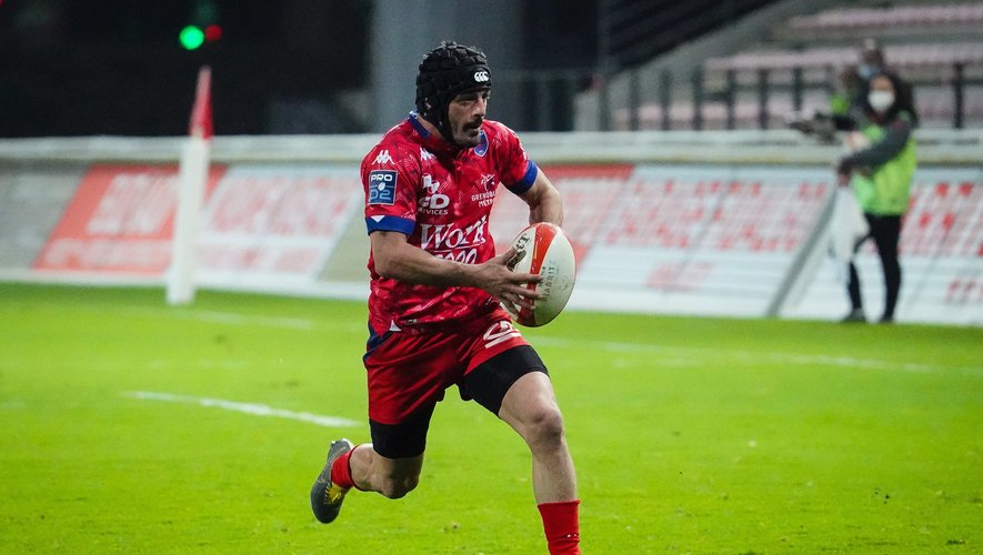 Jonathan BOUSQUET of FC Grenoble Rugby during the Pro D2 match between Biarritz and Grenoble on February 26, 2021 in Biarritz, France. (Photo by SPierre Costabadie/Icon Sport) - Jonathan BOUSQUET - Parc des Sports d'Aguilera - Biarritz (France)