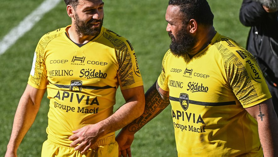 Kevin GOURDON of La Rochelle and Uini ATONIO of La Rochelle during the European Rugby Champions Cup, semi final match between La Rochelle and Leinster on May 2, 2021 in La Rochelle, France. (Photo by Anthony Dibon/Icon Sport) - Uini ATONIO - Kevin GOURDON - Stade Marcel-Deflandre - La Rochelle (France)