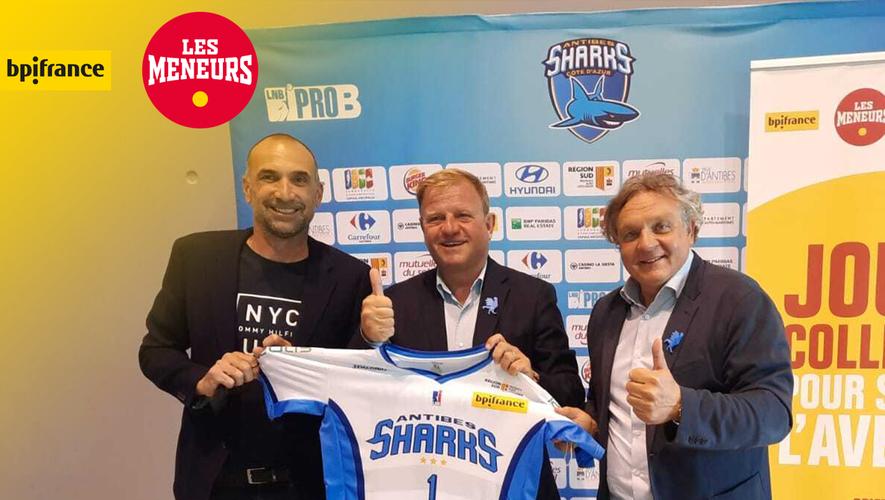 Patrice Bégay, directeur Bpifrance Excellence, est entouré de Jérôme Alonzo, nouveau directeur sportif des Sharks, et leur président, Freddy Tacheny.