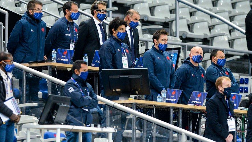 Le staff du XV de France est composé de 25 membres dont Fabien Galthié et son premier cercle (en haut). Nicolas Jeanjan et Thibault Giroud sont aussi du voyage.