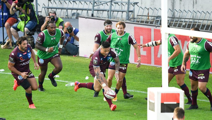 Ben LAM of Union Bordeaux Begles (UBB) score a try during the Top 14 match between Bordeaux Begles and Stade Francais Stade Chaban Delmas on September 11, 2021 in Bordeaux, France. (Photo by Anthony Bibard/FEP/Icon Sport) - Ben LAM - Stade Chaban-Delmas - Bordeaux (France)