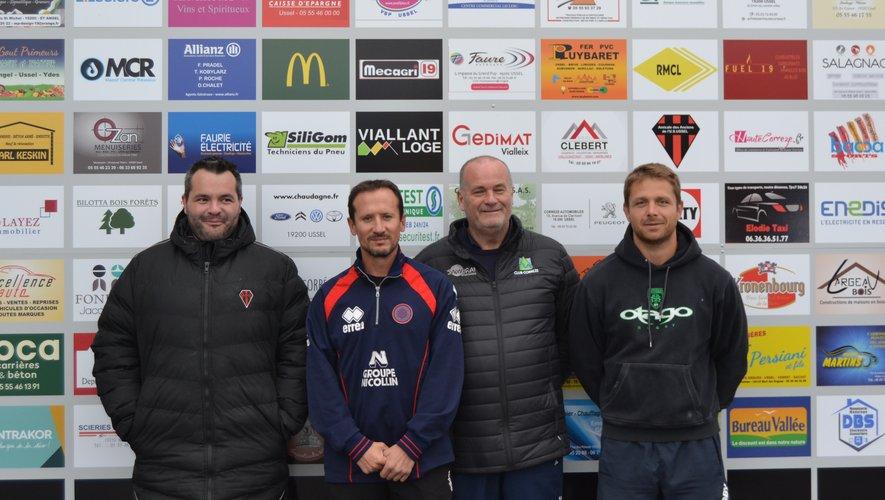 Avec Dupoux, Sibot, Glynn et Lozupone (de gauche à droite), le staff ussellois en impose.